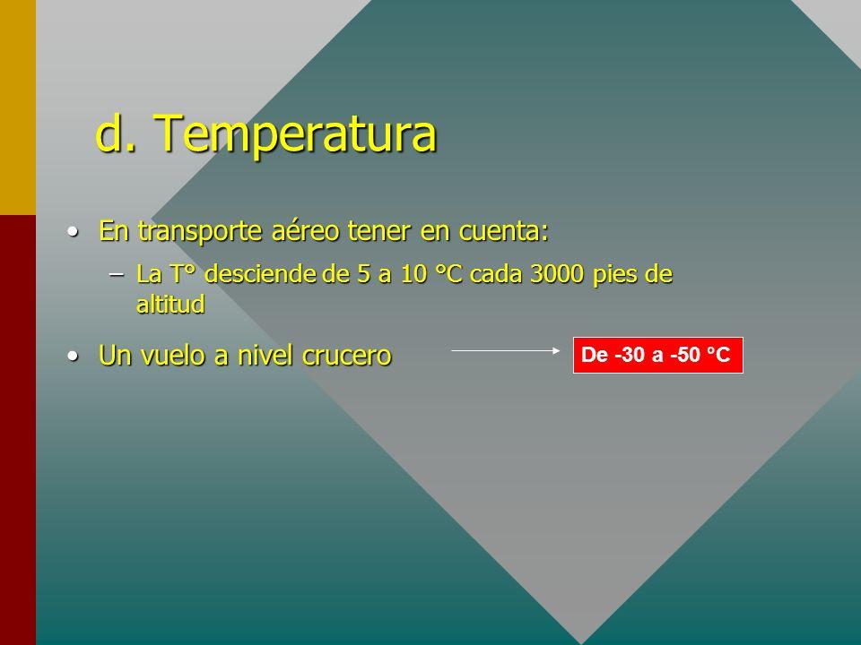 En transporte aéreo tener en cuenta:En transporte aéreo tener en cuenta: –La T° desciende de 5 a 10 °C cada 3000 pies de altitud Un vuelo a nivel cruc