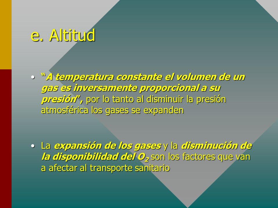 e. Altitud A temperatura constante el volumen de un gas es inversamente proporcional a su presión, por lo tanto al disminuir la presión atmosférica lo