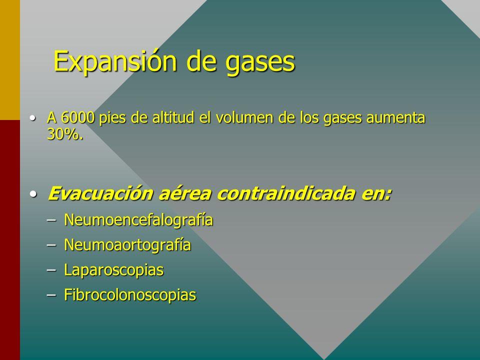Expansión de gases A 6000 pies de altitud el volumen de los gases aumenta 30%.A 6000 pies de altitud el volumen de los gases aumenta 30%. Evacuación a