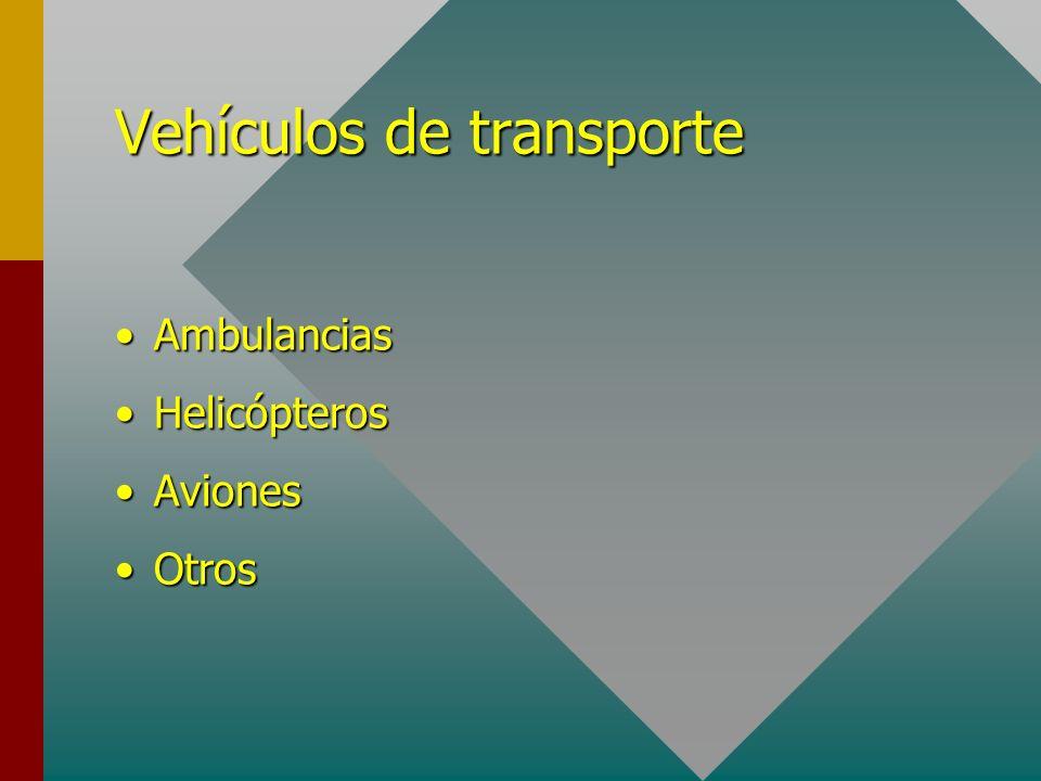 Vehículos de transporte AmbulanciasAmbulancias HelicópterosHelicópteros AvionesAviones OtrosOtros