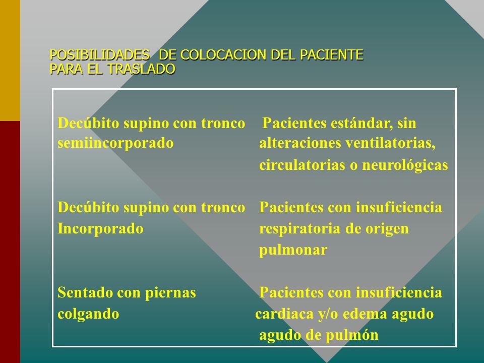 POSIBILIDADES DE COLOCACION DEL PACIENTE PARA EL TRASLADO Decúbito supino con tronco Pacientes estándar, sin semiincorporado alteraciones ventilatoria