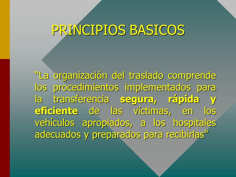 PRINCIPIOS BASICOS La organización del traslado comprende los procedimientos implementados para la transferencia segura, rápida y eficiente de las víc