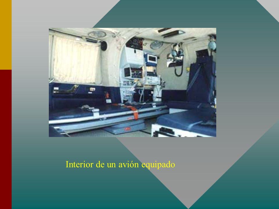 Interior de un avión equipado