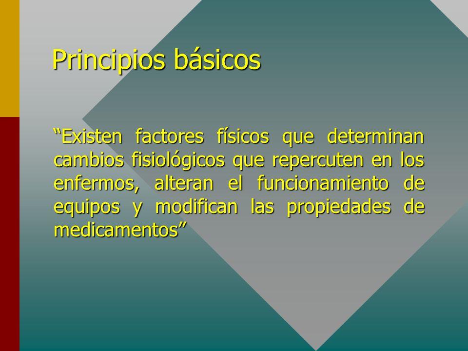 Principios básicos Existen factores físicos que determinan cambios fisiológicos que repercuten en los enfermos, alteran el funcionamiento de equipos y