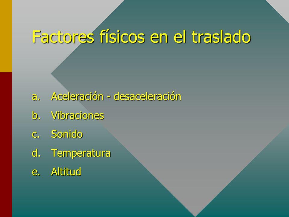 Factores físicos en el traslado a.Aceleración - desaceleración b.Vibraciones c.Sonido d.Temperatura e.Altitud