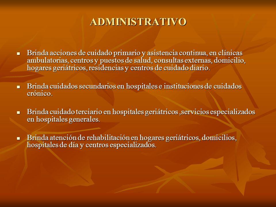 ADMINISTRATIVO Brinda acciones de cuidado primario y asistencia continua, en clínicas ambulatorias, centros y puestos de salud, consultas externas, do