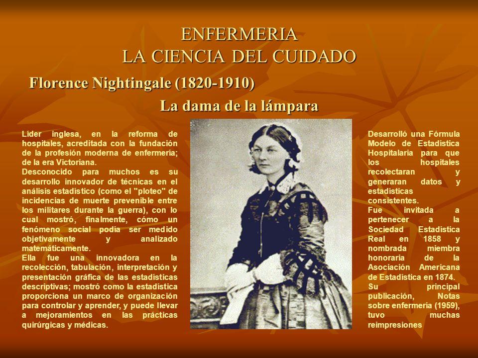 ENFERMERIA LA CIENCIA DEL CUIDADO Florence Nightingale (1820-1910) La dama de la lámpara Líder inglesa, en la reforma de hospitales, acreditada con la