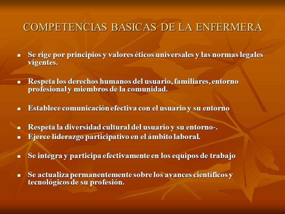 COMPETENCIAS BASICAS DE LA ENFERMERA Se rige por principios y valores éticos universales y las normas legales vigentes. Se rige por principios y valor