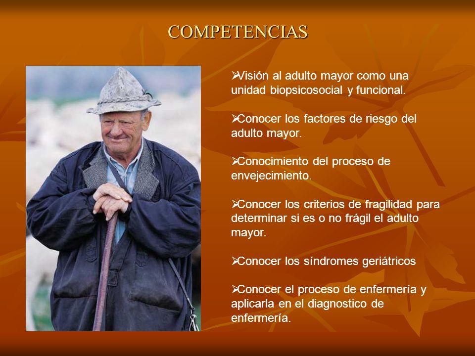 COMPETENCIAS Visión al adulto mayor como una unidad biopsicosocial y funcional. Conocer los factores de riesgo del adulto mayor. Conocimiento del proc