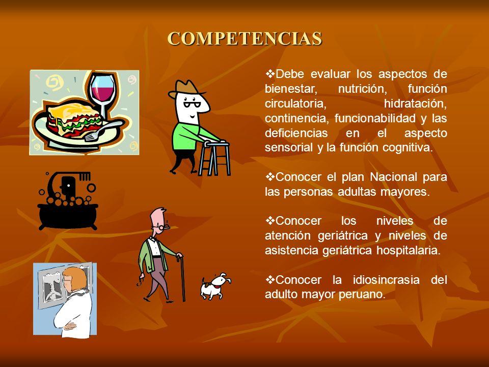 COMPETENCIAS Debe evaluar los aspectos de bienestar, nutrición, función circulatoria, hidratación, continencia, funcionabilidad y las deficiencias en
