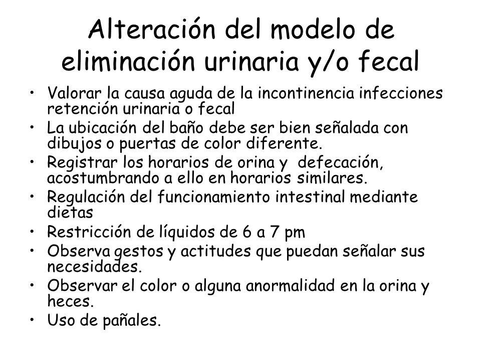 Alteración del modelo de eliminación urinaria y/o fecal Valorar la causa aguda de la incontinencia infecciones retención urinaria o fecal La ubicación