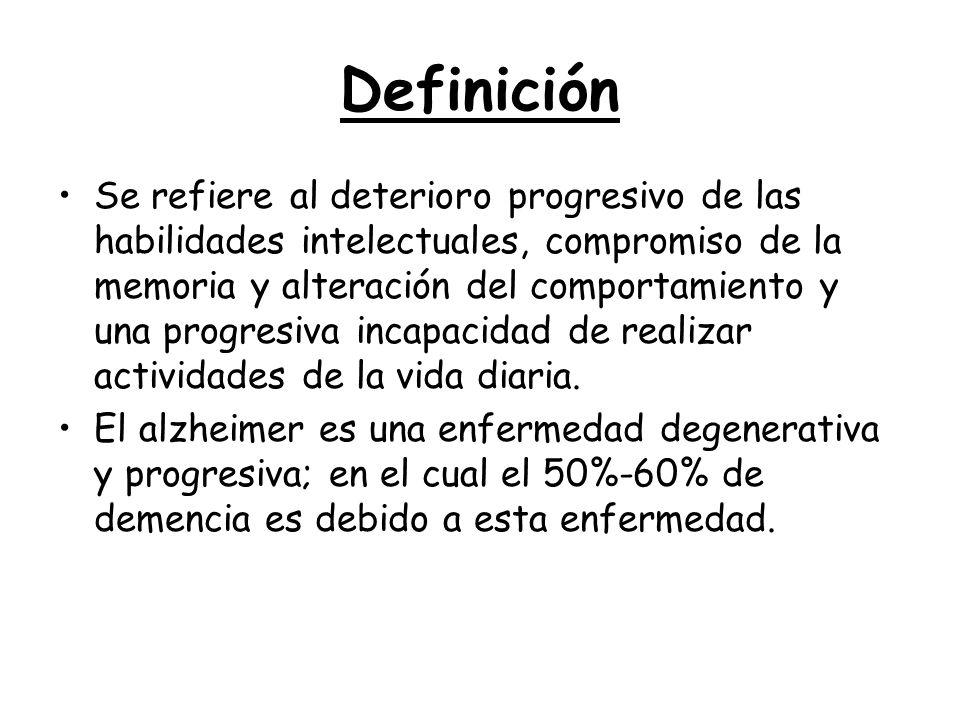 Definición Se refiere al deterioro progresivo de las habilidades intelectuales, compromiso de la memoria y alteración del comportamiento y una progres