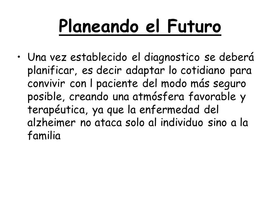 Planeando el Futuro Una vez establecido el diagnostico se deberá planificar, es decir adaptar lo cotidiano para convivir con l paciente del modo más s