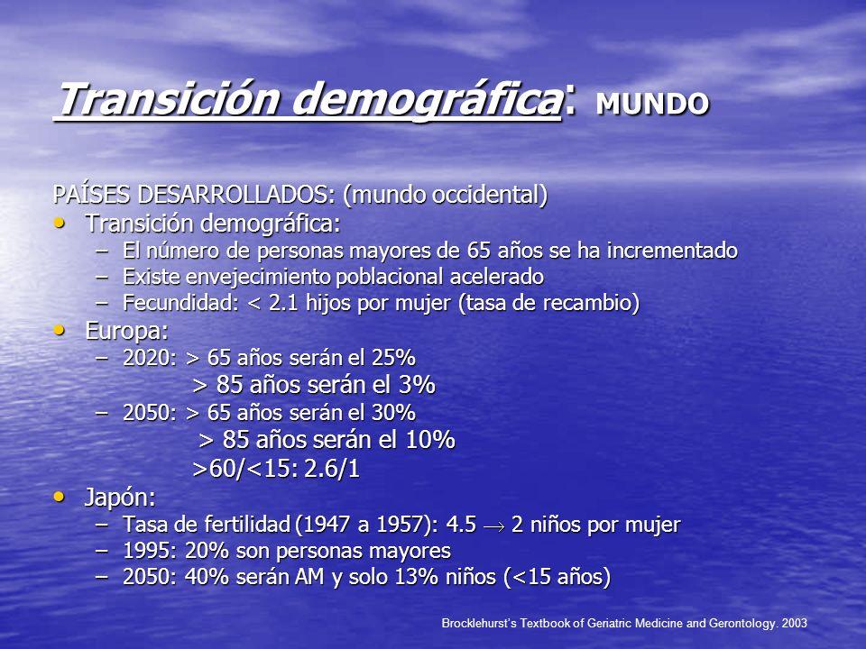 Transición demográfica : MUNDO PAÍSES DESARROLLADOS: (mundo occidental) Transición demográfica: Transición demográfica: –El número de personas mayores