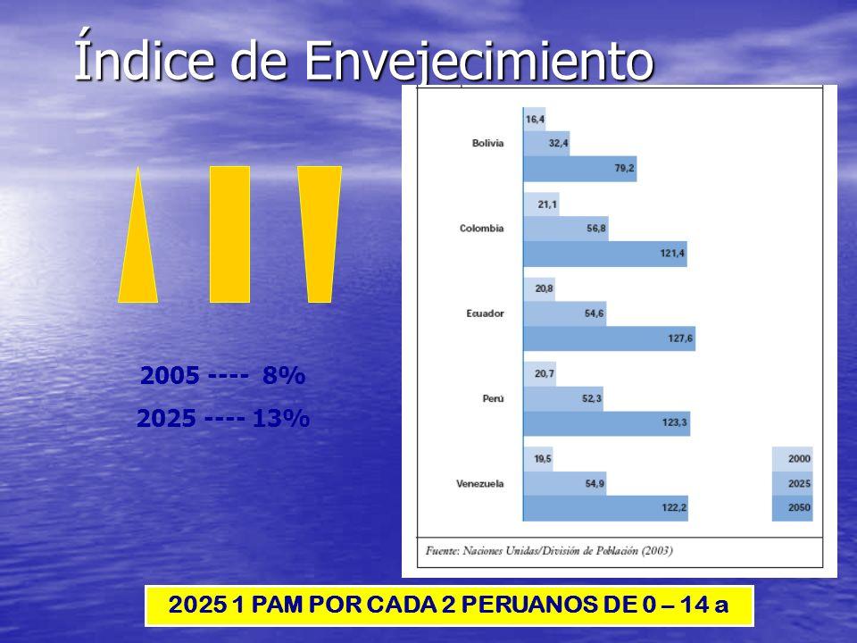 Índice de Envejecimiento 2025 1 PAM POR CADA 2 PERUANOS DE 0 – 14 a 2005 ---- 8% 2025 ---- 13%
