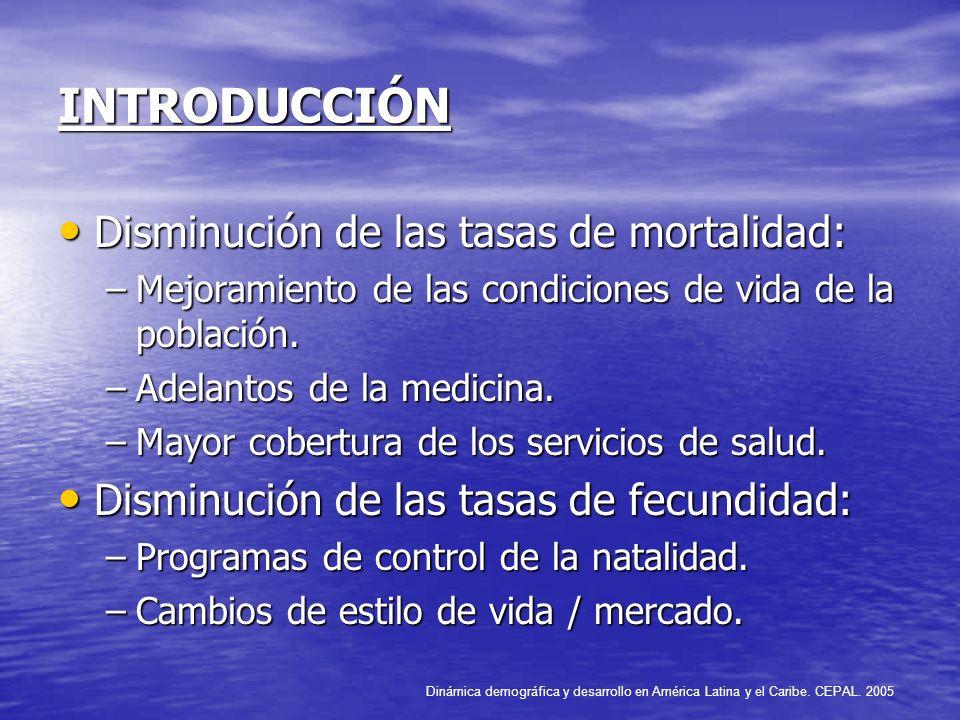 INTRODUCCIÓN Disminución de las tasas de mortalidad: Disminución de las tasas de mortalidad: –Mejoramiento de las condiciones de vida de la población.