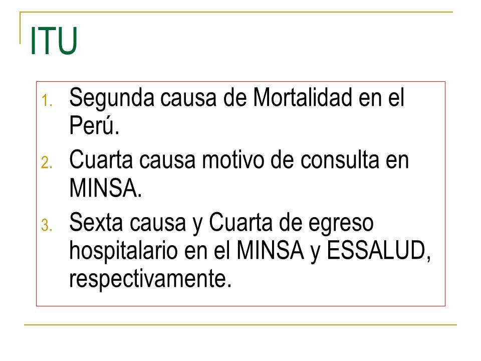 ITU 1. Segunda causa de Mortalidad en el Perú. 2. Cuarta causa motivo de consulta en MINSA. 3. Sexta causa y Cuarta de egreso hospitalario en el MINSA