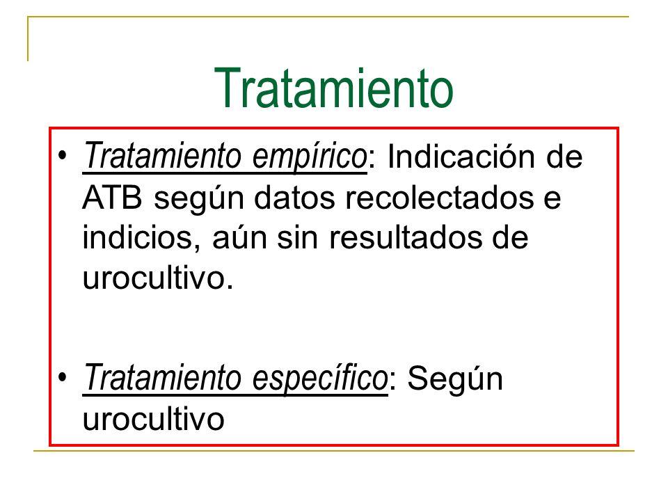 Tratamiento Tratamiento empírico : Indicación de ATB según datos recolectados e indicios, aún sin resultados de urocultivo. Tratamiento específico : S