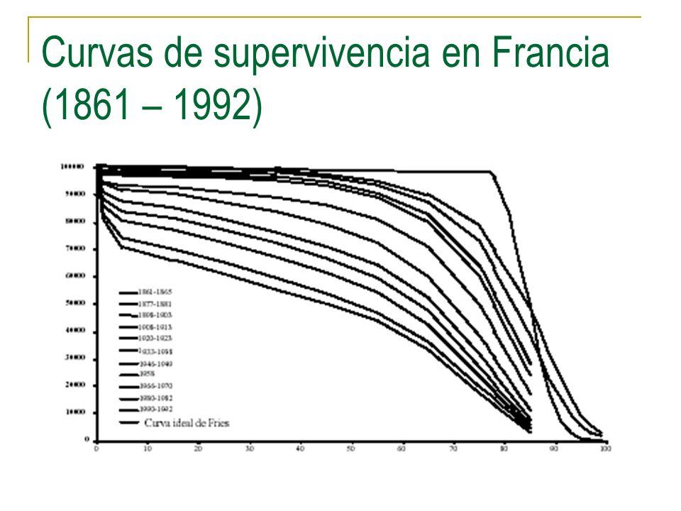 Curvas de supervivencia en Francia (1861 – 1992)