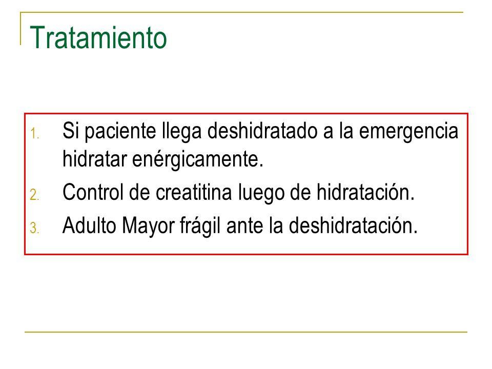 Tratamiento 1. Si paciente llega deshidratado a la emergencia hidratar enérgicamente. 2. Control de creatitina luego de hidratación. 3. Adulto Mayor f