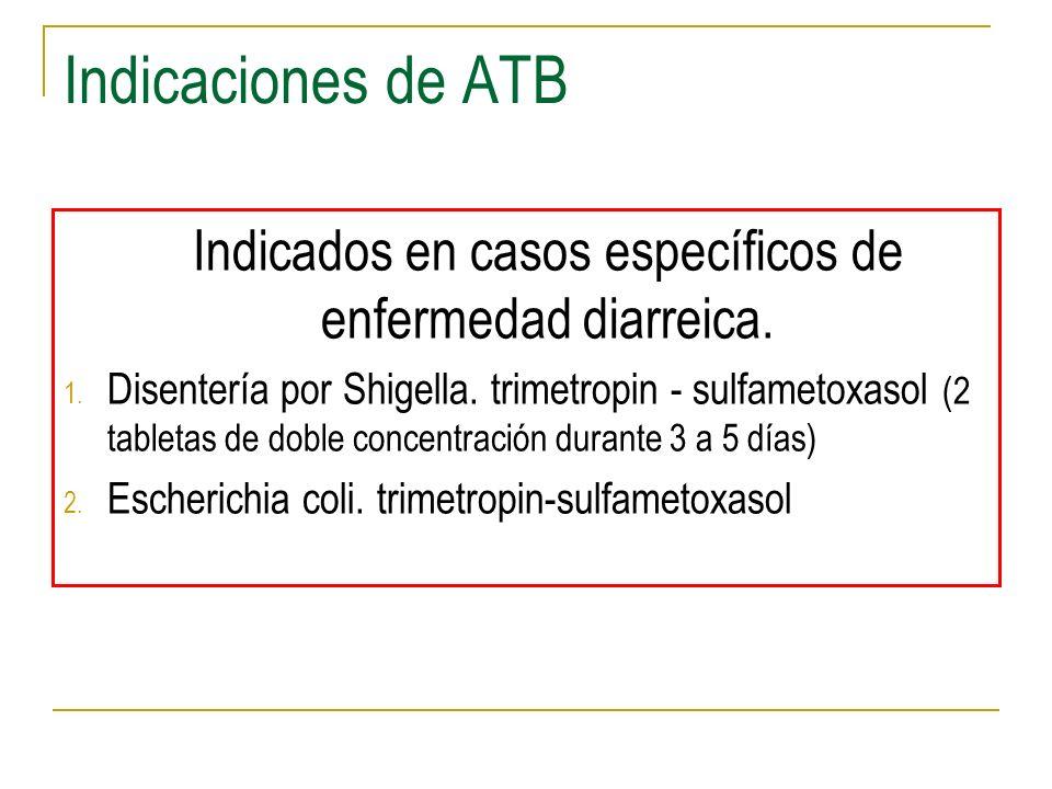 Indicaciones de ATB Indicados en casos específicos de enfermedad diarreica. 1. Disentería por Shigella. trimetropin - sulfametoxasol (2 tabletas de do