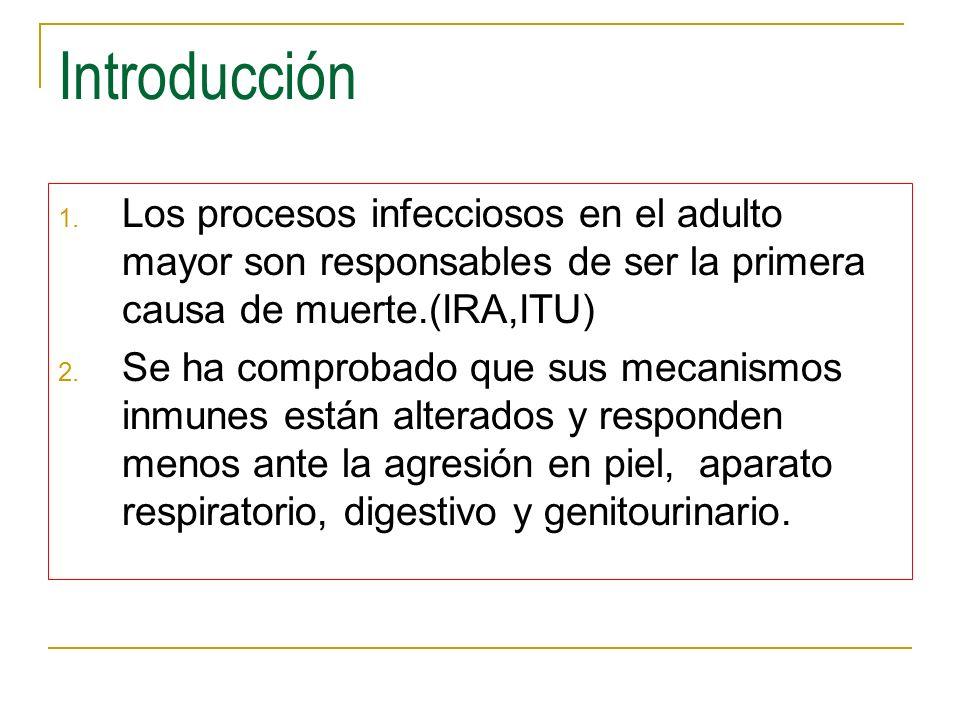 Introducción 1. Los procesos infecciosos en el adulto mayor son responsables de ser la primera causa de muerte.(IRA,ITU) 2. Se ha comprobado que sus m