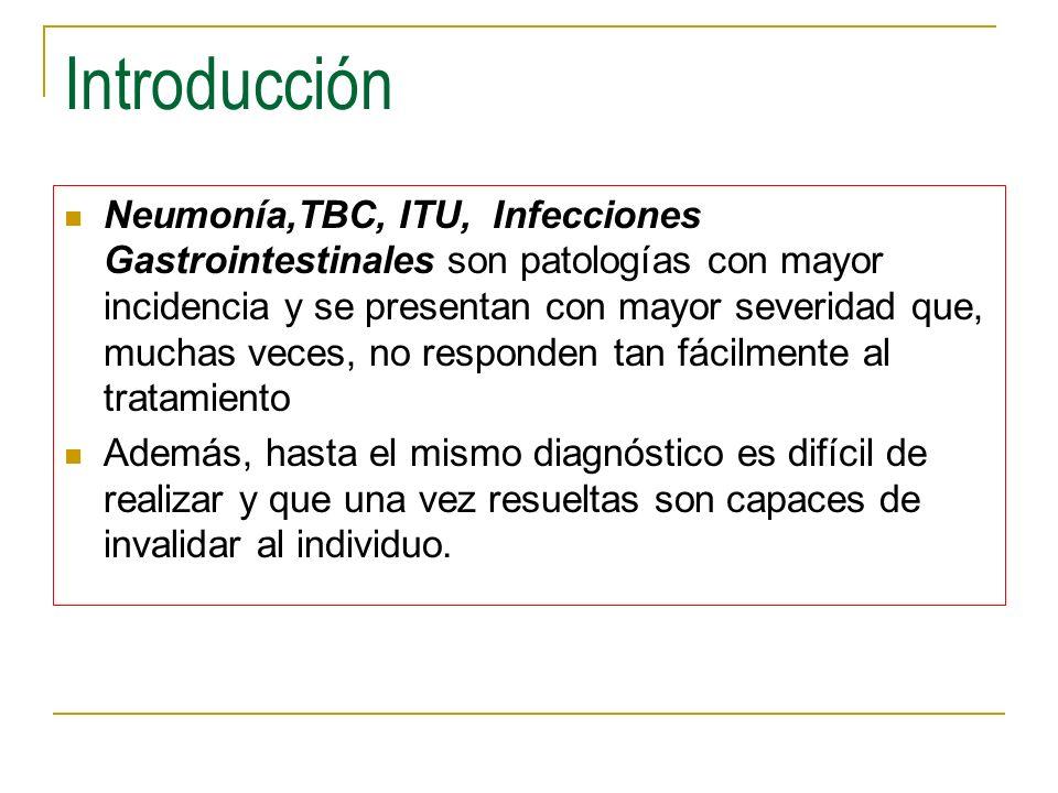 Introducción Neumonía,TBC, ITU, Infecciones Gastrointestinales son patologías con mayor incidencia y se presentan con mayor severidad que, muchas vece