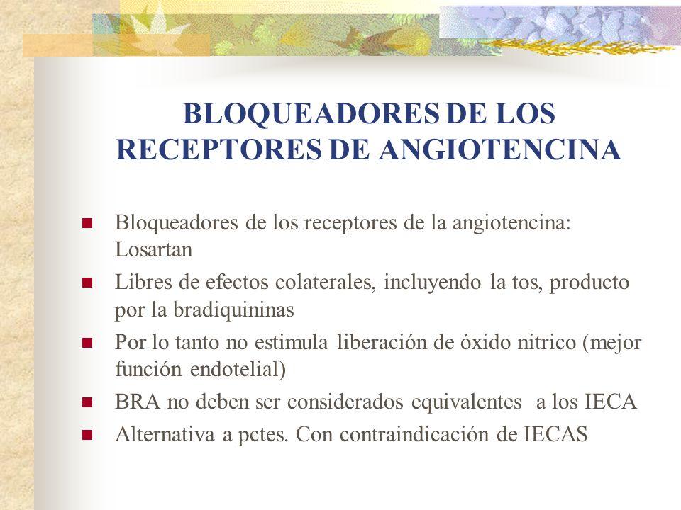 BLOQUEADORES DE LOS RECEPTORES DE ANGIOTENCINA Bloqueadores de los receptores de la angiotencina: Losartan Libres de efectos colaterales, incluyendo l