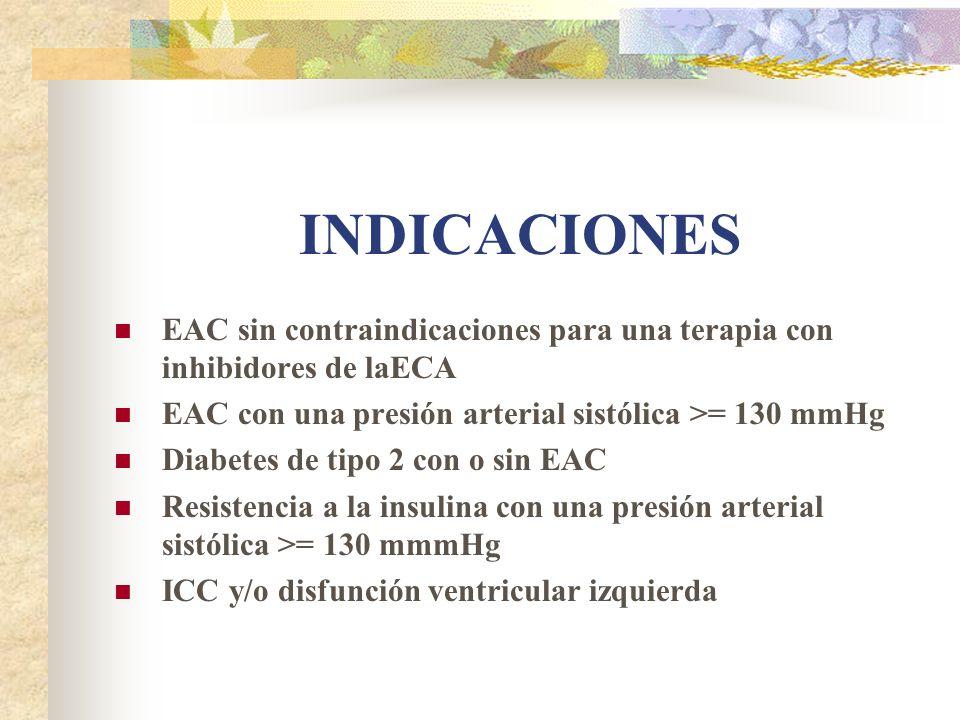 INDICACIONES EAC sin contraindicaciones para una terapia con inhibidores de laECA EAC con una presión arterial sistólica >= 130 mmHg Diabetes de tipo 2 con o sin EAC Resistencia a la insulina con una presión arterial sistólica >= 130 mmmHg ICC y/o disfunción ventricular izquierda