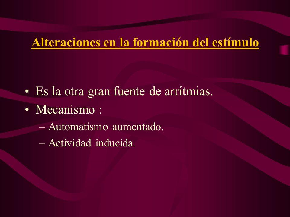 Alteraciones en la formación del estímulo Es la otra gran fuente de arrítmias. Mecanismo : –Automatismo aumentado. –Actividad inducida.