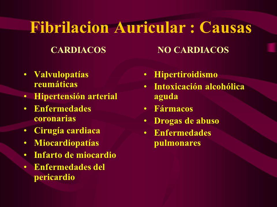 Fibrilacion Auricular : Causas CARDIACOS Valvulopatías reumáticas Hipertensión arterial Enfermedades coronarias Cirugía cardiaca Miocardiopatías Infar