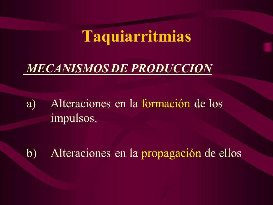 Taquiarritmias MECANISMOS DE PRODUCCION a) Alteraciones en la formación de los impulsos. b) Alteraciones en la propagación de ellos
