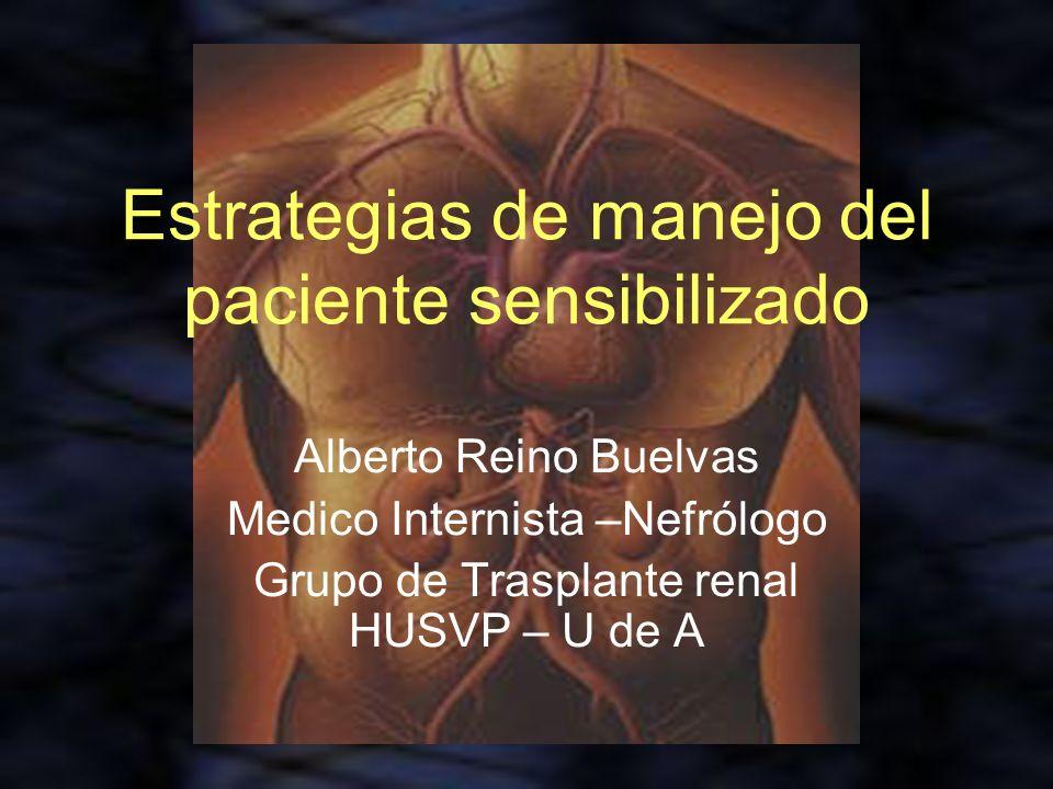 Estrategias de manejo del paciente sensibilizado Alberto Reino Buelvas Medico Internista –Nefrólogo Grupo de Trasplante renal HUSVP – U de A