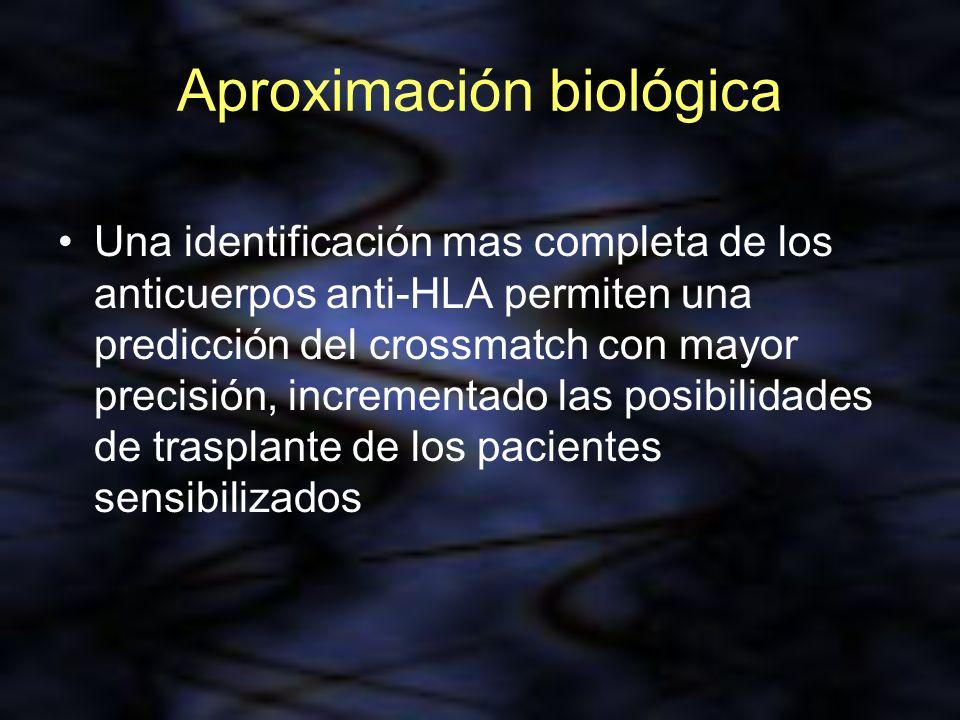 Aproximación biológica Una identificación mas completa de los anticuerpos anti-HLA permiten una predicción del crossmatch con mayor precisión, increme