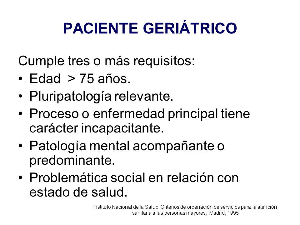 PACIENTE GERIÁTRICO Cumple tres o más requisitos: Edad > 75 años. Pluripatología relevante. Proceso o enfermedad principal tiene carácter incapacitant