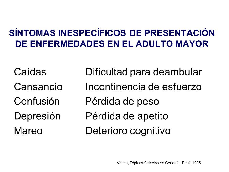 SÍNTOMAS INESPECÍFICOS DE PRESENTACIÓN DE ENFERMEDADES EN EL ADULTO MAYOR Caídas Dificultad para deambular Cansancio Incontinencia de esfuerzo Confusi