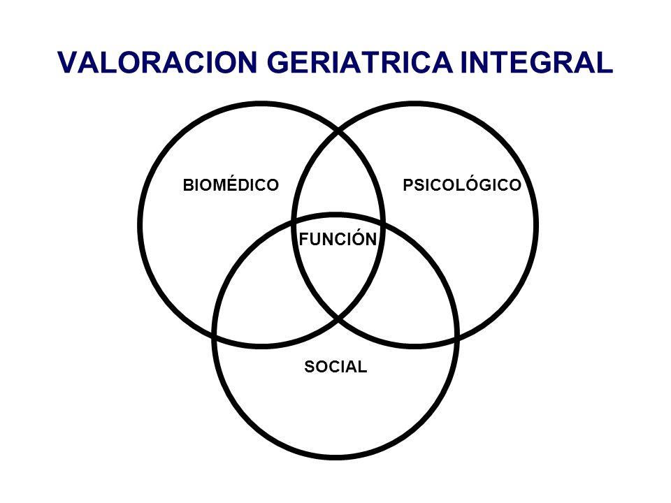 VALORACION GERIATRICA INTEGRAL BIOMÉDICO SOCIAL PSICOLÓGICO FUNCIÓN