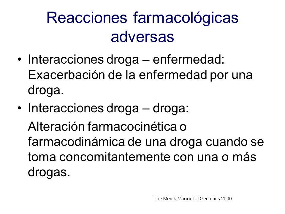 Reacciones farmacológicas adversas Interacciones droga – enfermedad: Exacerbación de la enfermedad por una droga. Interacciones droga – droga: Alterac