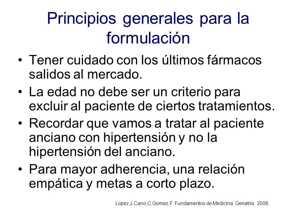 Principios generales para la formulación Tener cuidado con los últimos fármacos salidos al mercado. La edad no debe ser un criterio para excluir al pa