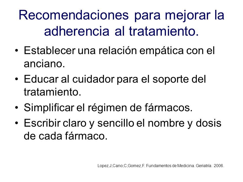 Recomendaciones para mejorar la adherencia al tratamiento. Establecer una relación empática con el anciano. Educar al cuidador para el soporte del tra