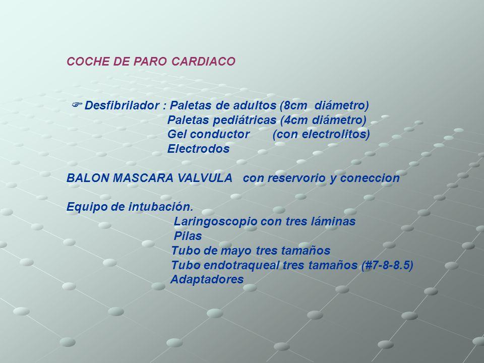 COCHE DE PARO CARDIACO Desfibrilador : Paletas de adultos (8cm diámetro) Paletas pediátricas (4cm diámetro) Gel conductor (con electrolitos) Electrodo