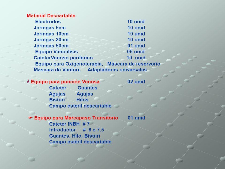 Material Descartable Electrodos 10 unid Jeringas 5cm 10 unid Jeringas 10cm 10 unid Jeringas 20cm 10 unid Jeringas 50cm 01 unid Equipo Venoclisis 05 un