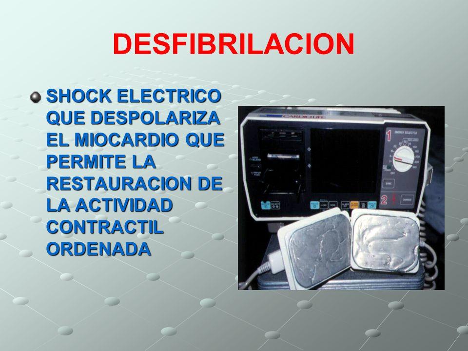 DESFIBRILACION SHOCK ELECTRICO QUE DESPOLARIZA EL MIOCARDIO QUE PERMITE LA RESTAURACION DE LA ACTIVIDAD CONTRACTIL ORDENADA