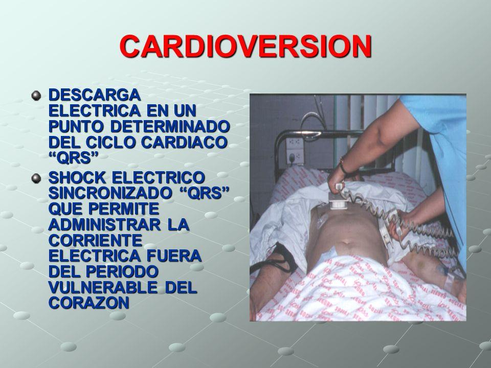 CARDIOVERSION DESCARGA ELECTRICA EN UN PUNTO DETERMINADO DEL CICLO CARDIACO QRS SHOCK ELECTRICO SINCRONIZADO QRS QUE PERMITE ADMINISTRAR LA CORRIENTE