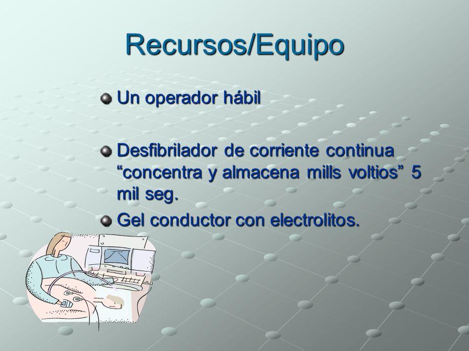 Recursos/Equipo Un operador hábil Desfibrilador de corriente continua concentra y almacena mills voltios 5 mil seg. Gel conductor con electrolitos.