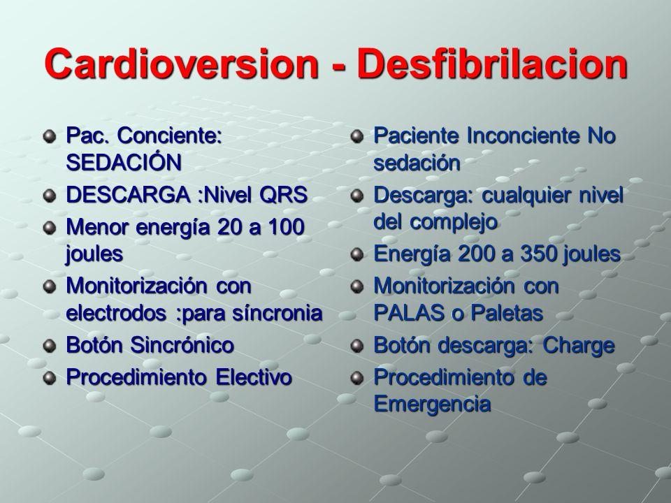 Cardioversion - Desfibrilacion Pac. Conciente: SEDACIÓN DESCARGA :Nivel QRS Menor energía 20 a 100 joules Monitorización con electrodos :para síncroni