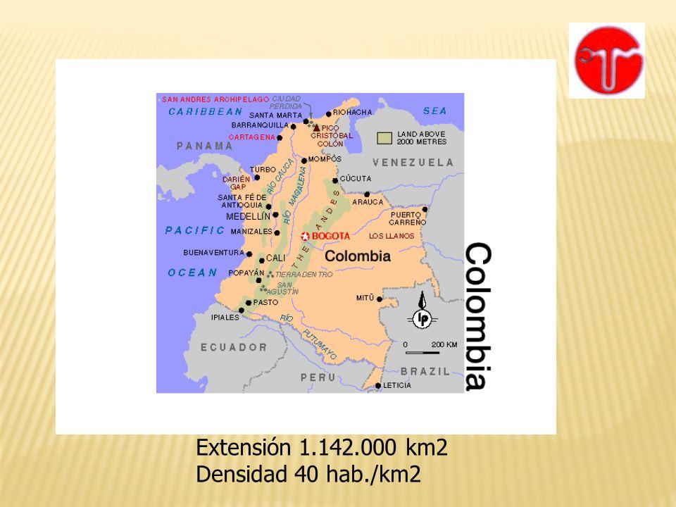 Extensión 1.142.000 km2 Densidad 40 hab./km2