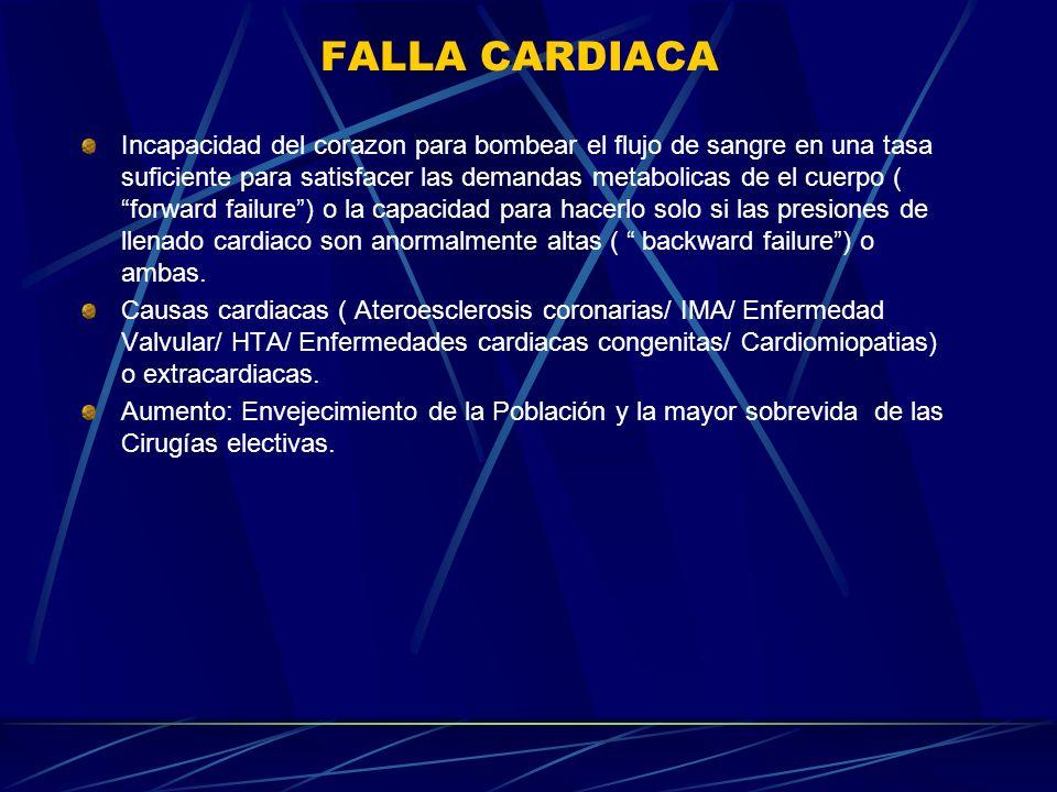 FALLA CARDIACA Incapacidad del corazon para bombear el flujo de sangre en una tasa suficiente para satisfacer las demandas metabolicas de el cuerpo (
