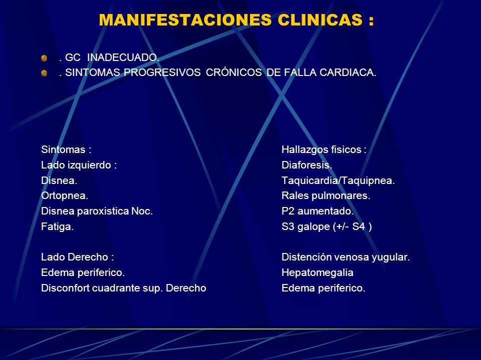 MANIFESTACIONES CLINICAS :. GC INADECUADO.. SINTOMAS PROGRESIVOS CRÓNICOS DE FALLA CARDIACA. Sintomas : Hallazgos fisicos : Lado izquierdo :Diaforesis