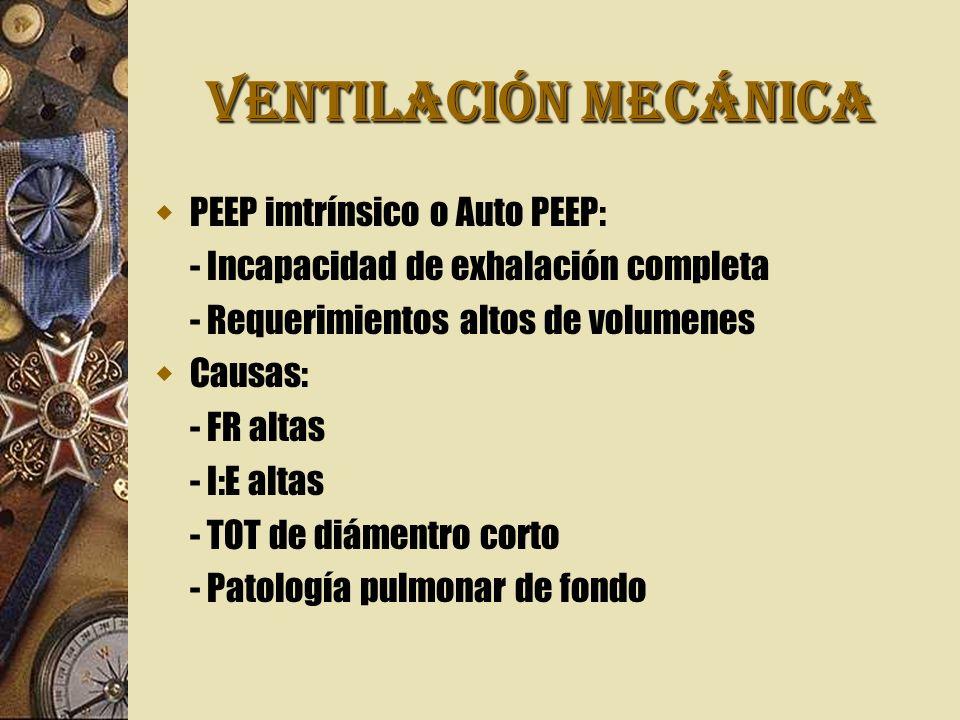 VENTILACIÓN MECÁNICA PEEP imtrínsico o Auto PEEP: - Incapacidad de exhalación completa - Requerimientos altos de volumenes Causas: - FR altas - I:E al